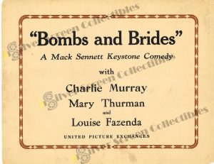 "Lobby Card from Bombs and Brides (aka ""Bombs!)"