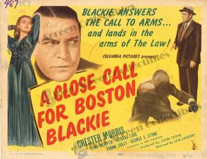 Lobby Card From A Close Call for Boston Blackie