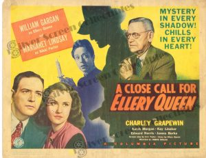 Lobby Card From A Close Call for Ellery Queen