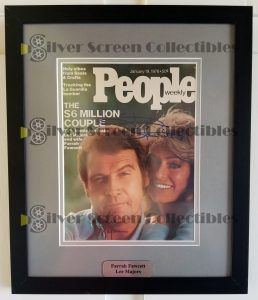 Framed People Magazine Signed by Both Lee Majors & Farrah Fawcett