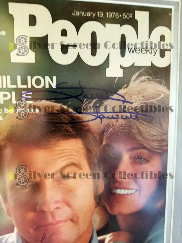 Framed People Magazine Signed by Both Lee Majors & Farrah Fawcett