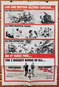 "(27"" x 41"")  Original U.S. One Sheet Movie Poster from ThunderBall / You Only Live Twice"