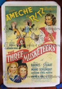 "(27"" x 41"")  Original U.S. One Sheet Movie Poster from Three Musketeers"